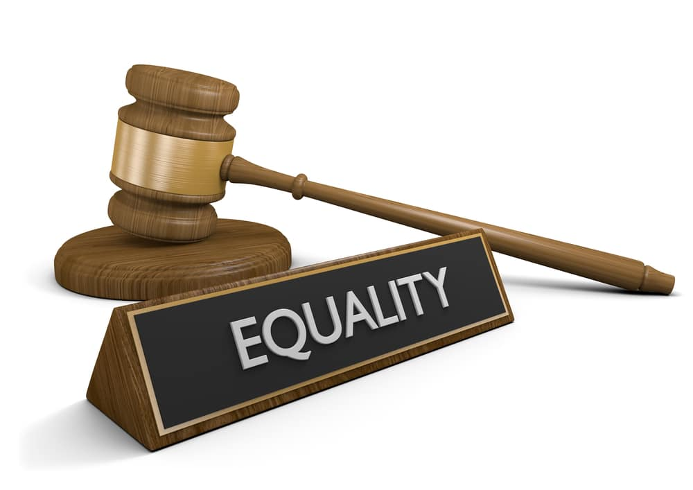 Computer graphic of gavel, block and a nameplate, entitled Equality