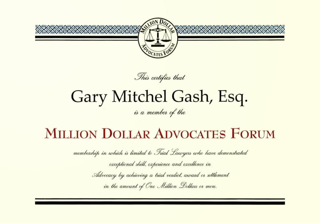 Gary Gash's Million Dollar Advocates Forum Certificate