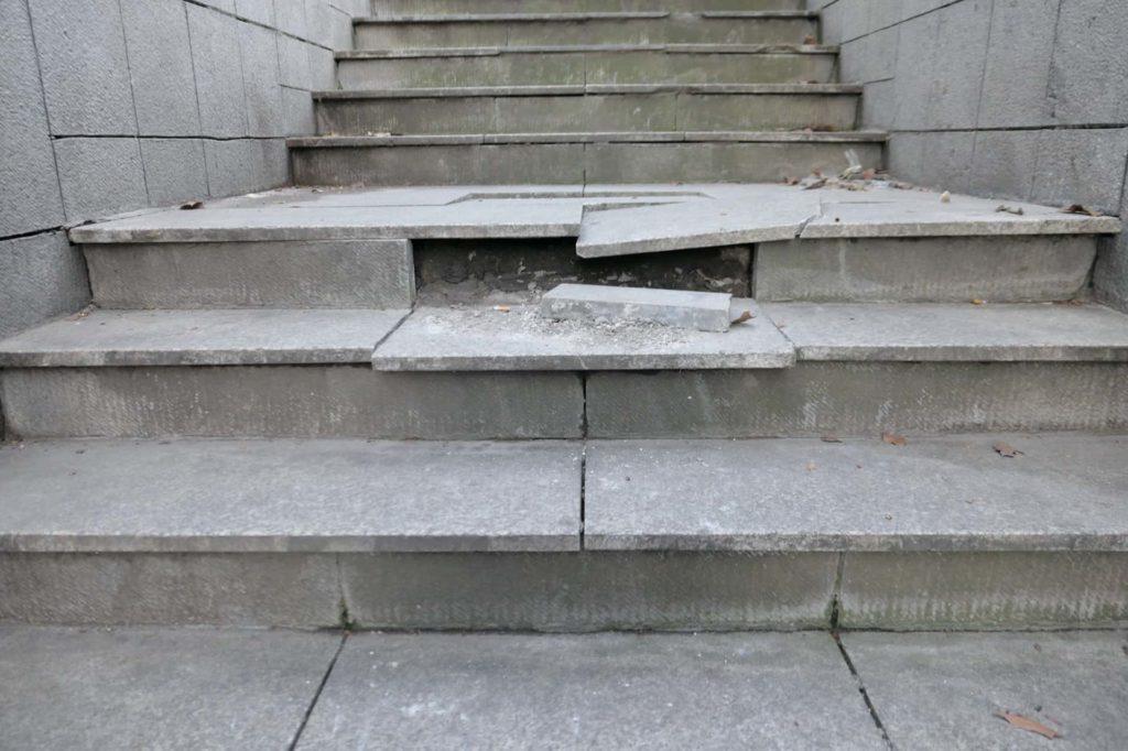 Broken concrete stairs